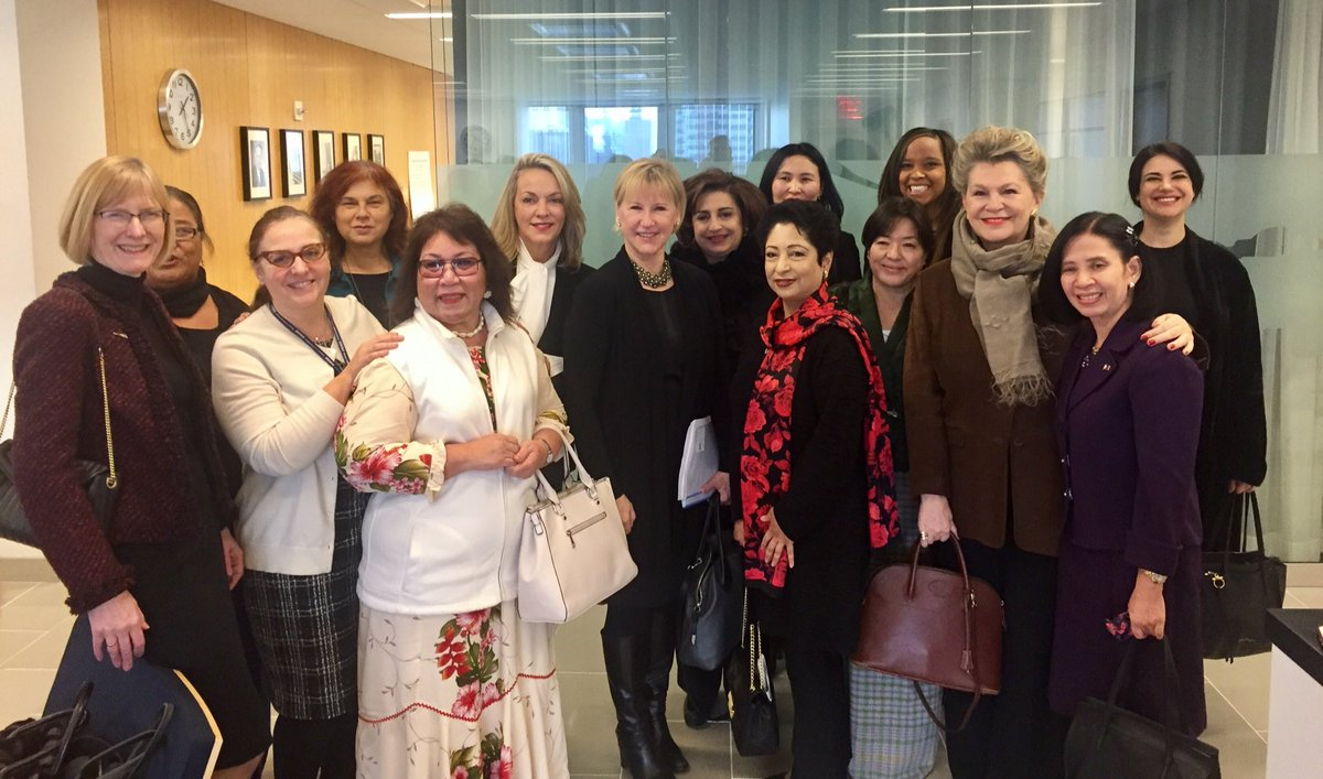 Pleasure to host luncheon for women UN ambassadors today. Women, peace & security agenda given topic for discussion.