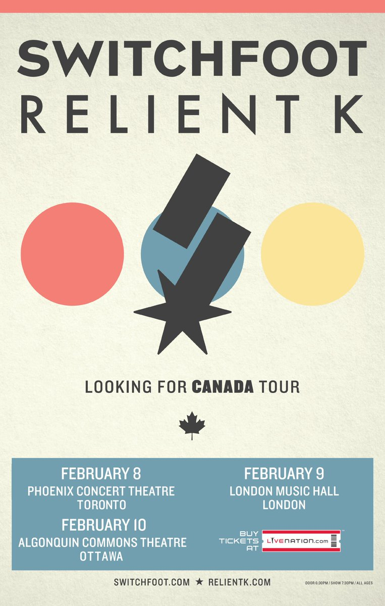 Follow + RT to WIN a pair of tickets to see Switchfoot and Relient K in Toronto, London or Ottawa! https://t.co/zTw1CfR9Ev