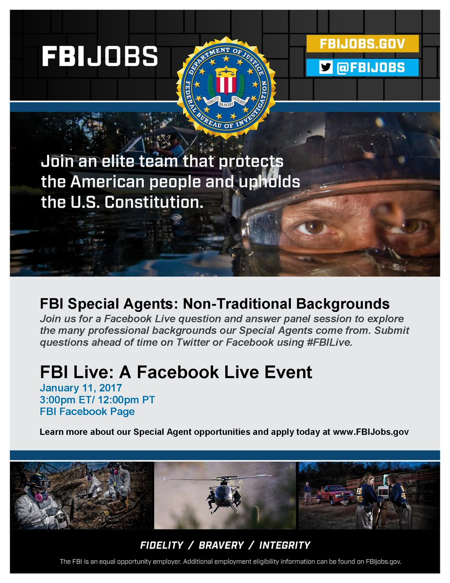 Join us on 1/11 for a Facebook Live event at 3PM EST on special agents with non-traditional backgrounds:  https://www. facebook.com/FBI/videos/101 54870879906212/ &nbsp; …  #FBILive <br>http://pic.twitter.com/QmE3Moqx2D