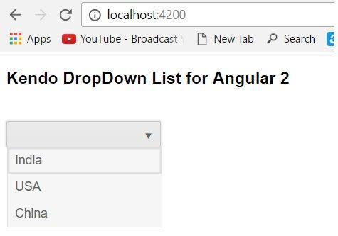 Kendo DropDownList For Angular 2