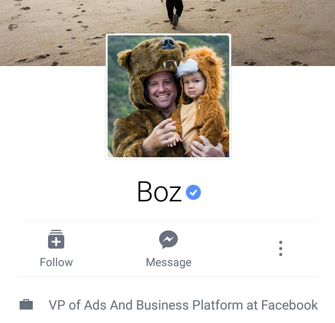 Facebook has a real names policy but their VP of Advertising is called Boz. https://t.co/0C9H6a0Jp4