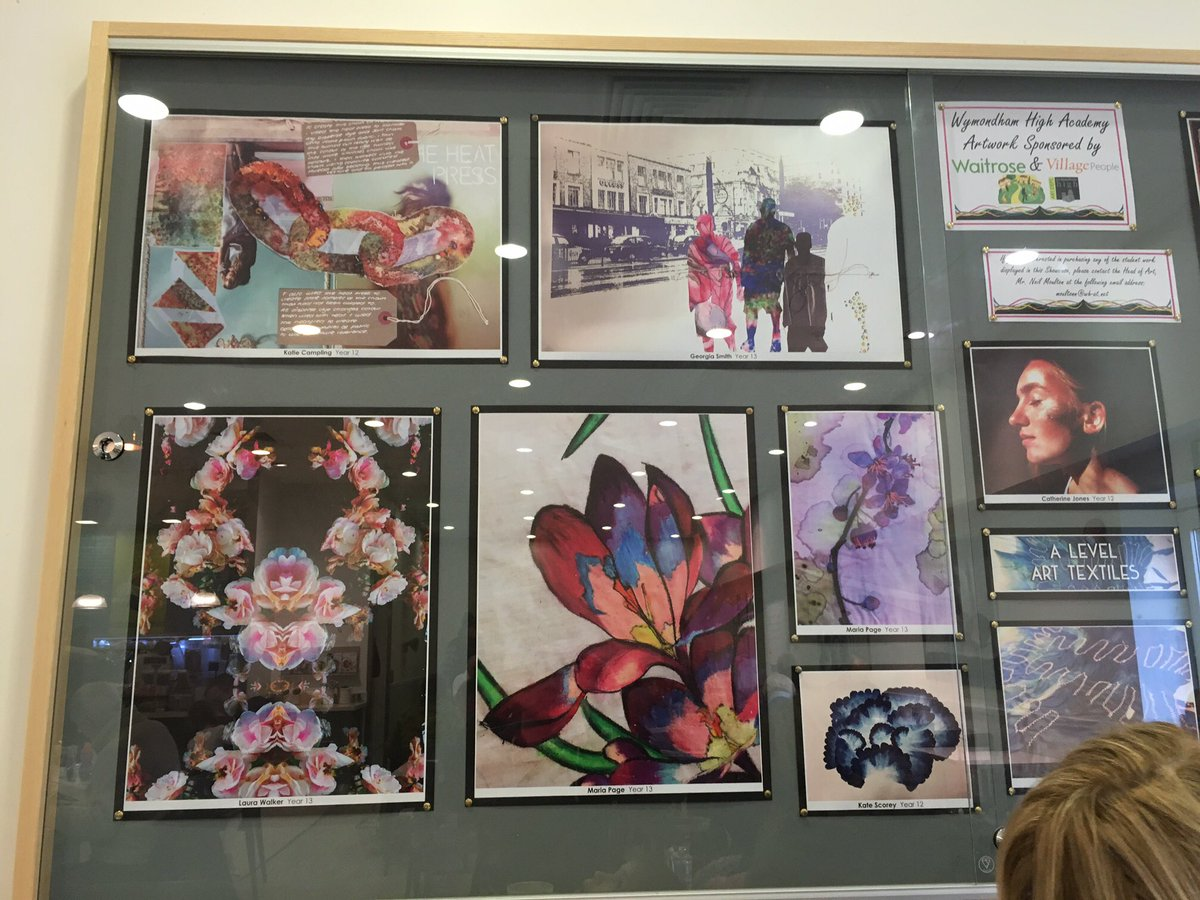 The head spotted an ex-student's ALevel art on display in Waitrose! Well done Katie Campling. @Wymondham_High #LshsAlumni
