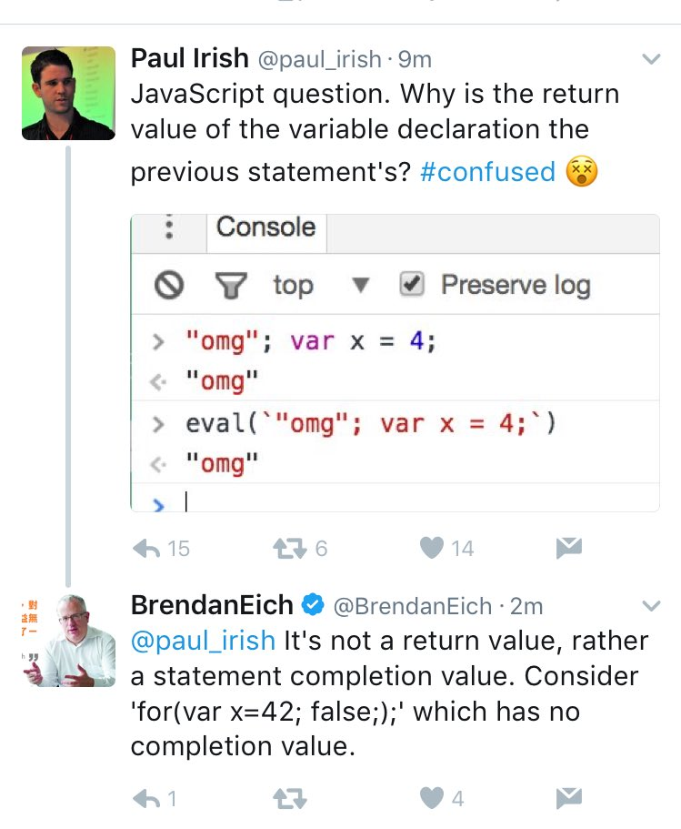 Twitter is great because the creator of JavaScript will help you with JavaScript within 7 minutes https://t.co/3XrQZtTF7E