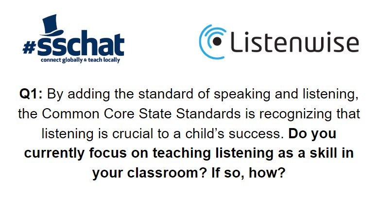 Q1: Do you currently focus on teaching listening as a skill in your classroom? If so, how? #sschat https://t.co/e1d040nC1t