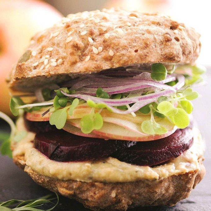 Roasted Beet Sandwiches with Garlic Herb Spread Recipe