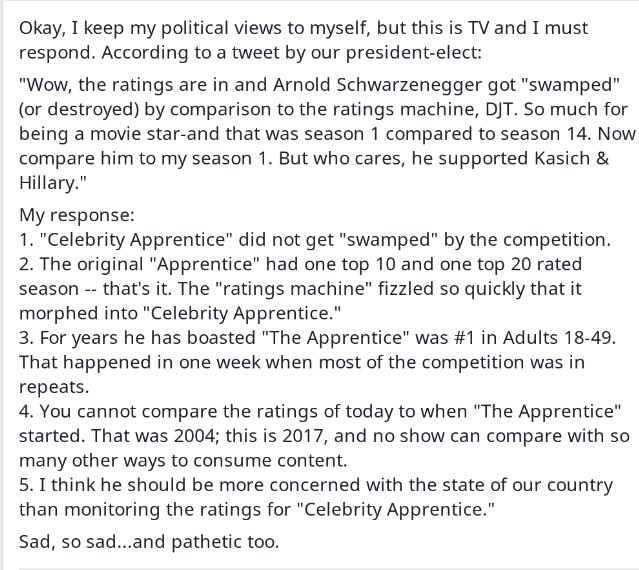 My opinion on the PEOTUS recent tweet concerning #CelebrityApprentice ratings https://t.co/X9rvg8e1GQ