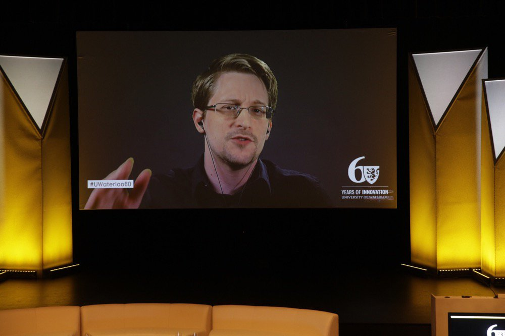 """If we are going to have individual rights we have to protect them for everyone""  @Snowden at #UWaterloo60. https://t.co/R5ExtH6HOo"