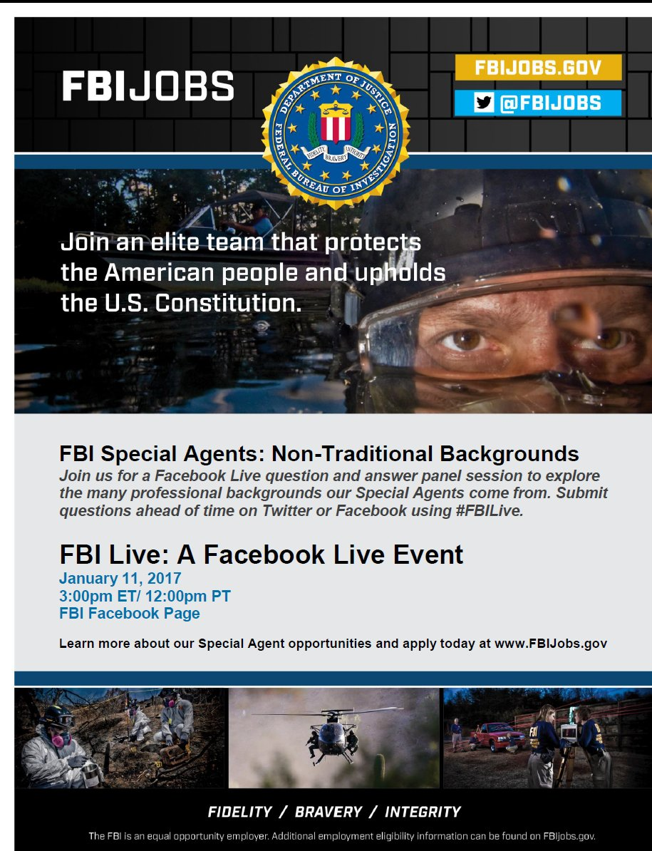 Join us Wednesday for Facebook Live discussion w/agents from #diverse backgrounds. Send a question @FBIJobs, @FBI or Facebook &amp; use #FBILive <br>http://pic.twitter.com/2MrpXnVdj4