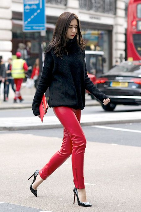 Here's How To Pull Off Red Leather Pants