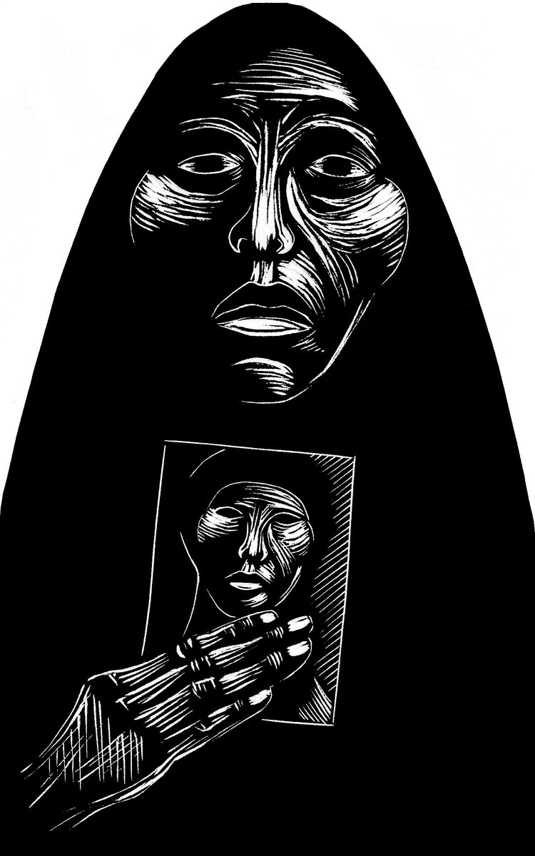 &quot;Madre del Desaparecido / Mother of the Disappeared&quot; #Linocut on HW #Rives paper. Circa 2008 #printmaking #grabado #carlosbarberena #art<br>http://pic.twitter.com/Scdv3s73hd