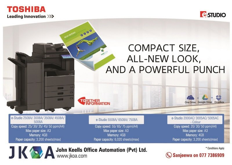 #JohnKeells #Office #Automation : #Toshiba #eStudio : Compact #Size, All-New Look and a #Powerful #Punch. #lka #iContactLanka #printers<br>http://pic.twitter.com/eABPs3yjcJ