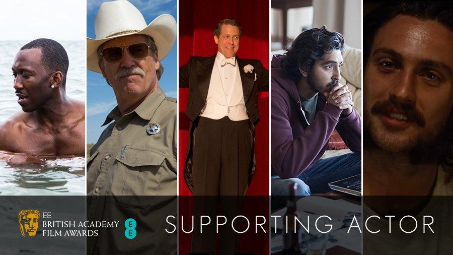 Supporting Actor: Aaron Taylor-Johnson, Dev Patel, Jeff Bridges, Hugh Grant and Mahershala Ali https://t.co/GF2IWjWe10 #EEBAFTAs