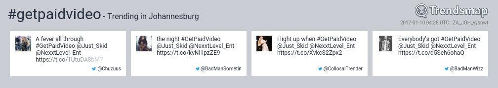 #getpaidvideo is now trending in #Johannesburg  https://t.co/Kw04id5gRP https://t.co/q6DwsvOvl5