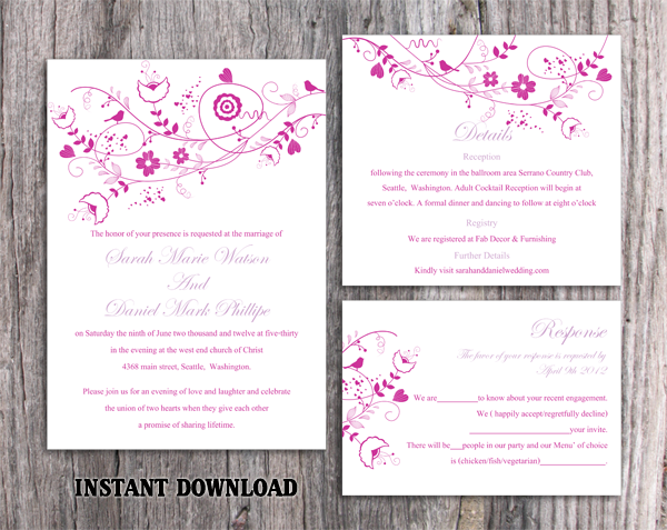 DIY Wedding Invitation Template Set Editable Word File Instant Download Floral Invitation Bird Invitation Printable Purple Invitations