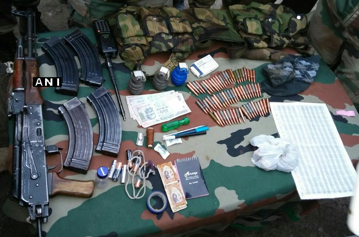 J&K: Arms, ammunition and paraphernalia recovered in Bandipora encounter that took place this morning