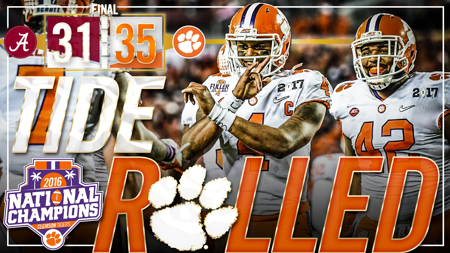 Tide Rolled, 35-31.  The National Championship is coming BACK to #Clemson!   #ALLIN https://t.co/NdzRNl15P3