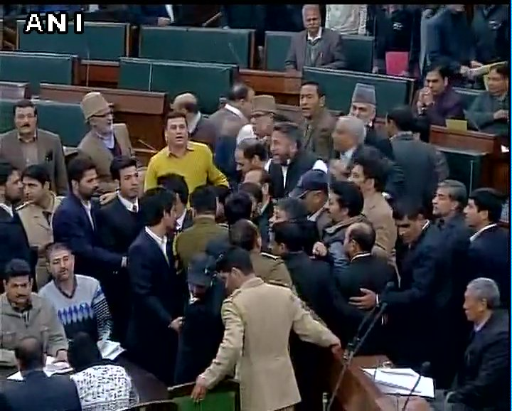 NC and Congress MLAs protest against J&K Assembly speaker, allege that he is biased against them