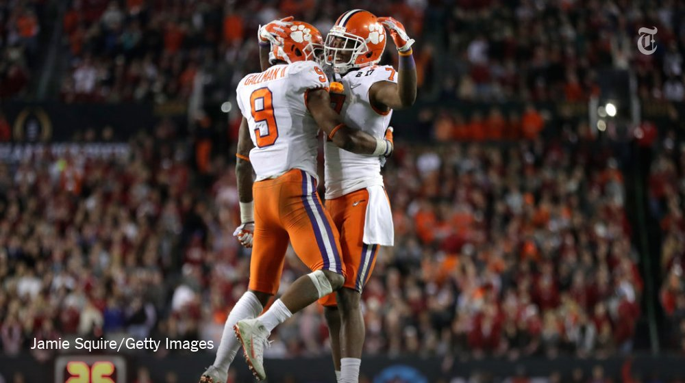 YES!! RT @nytimes: Clemson shocks Alabama with 1 second left to win national championship https://t.co/hkSvrkIW2U https://t.co/LwW9ov2zAO