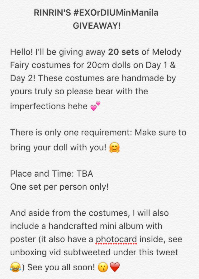 [GIVEAWAY] FOR YOUR BELOVED BABIES! #EXOrDIUMinManila <br>http://pic.twitter.com/TXjVpce48P