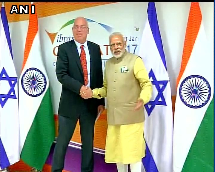 Gujarat: PM Modi meets Uri Ariel (Minister of Agriculture and Rural Development of Israel) in Gandhinagar