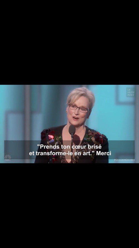 #Meryl Streep#discours aux #Golden Globes Courage sensibilité intelligence  Écoutez ce discours à propos de Trum<br>http://pic.twitter.com/wIcUhZT09q