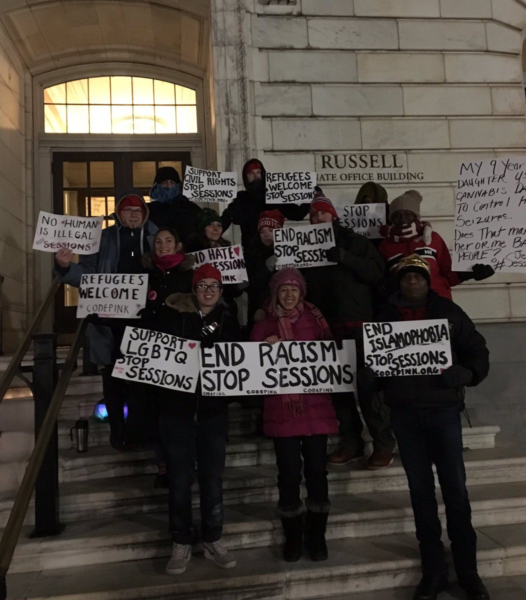 CODEPINK is out this morning waiting to go into Sessions confirmation hearing. End racism #StopSessions https://t.co/ieSAuXzSSA