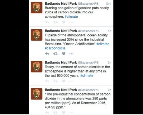 Here are the tweets on climate change Donald Trump doesn't want you to see, deleted from the @BadlandsNPS account: https://t.co/xtf4BlN6it