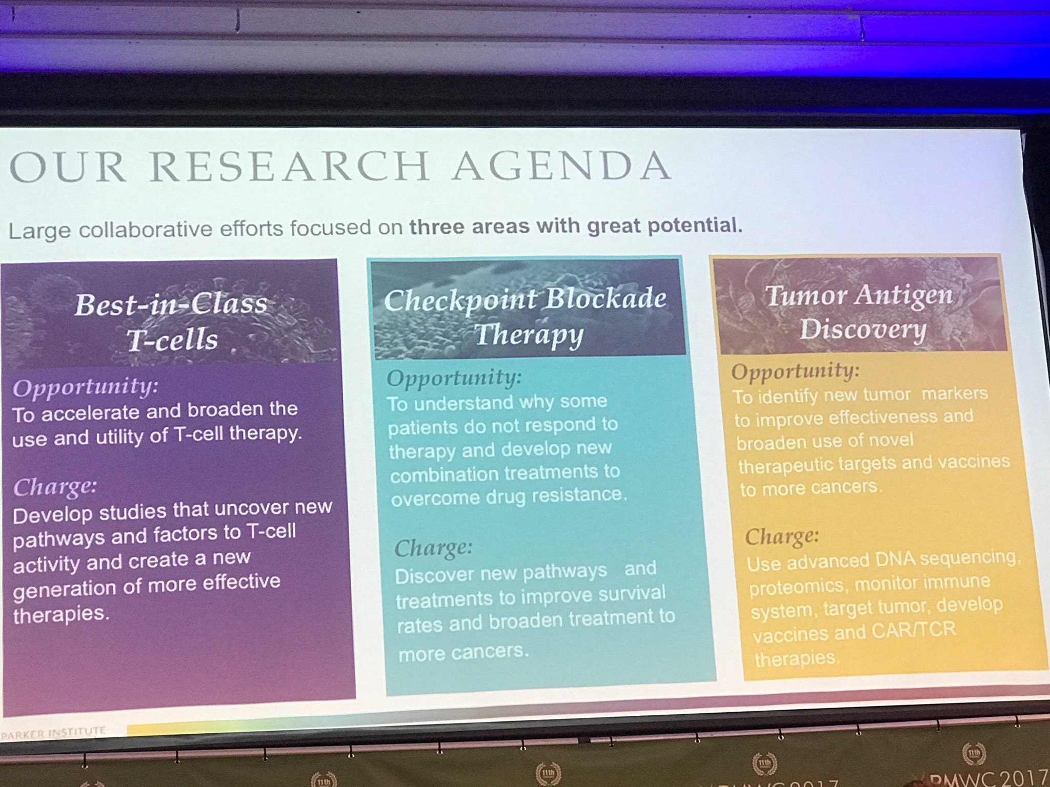Bluestone shares priority areas of @parkerici noting a 4th just added-tumor microenvironment #PMWC17 https://t.co/EStbMkD6AC