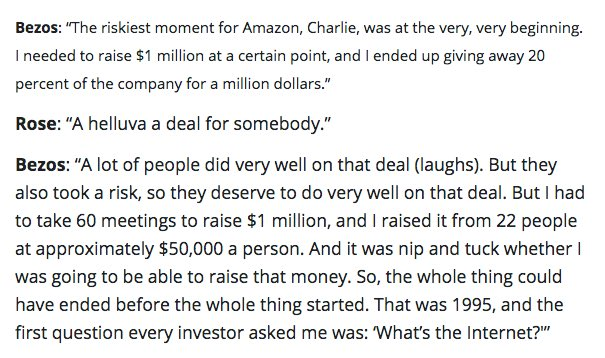 Jeff Bezos on Charlie Rose explains Amazon's first round of fundraising:  https://t.co/YCDRL5vWec https://t.co/H5BXtsjqKl