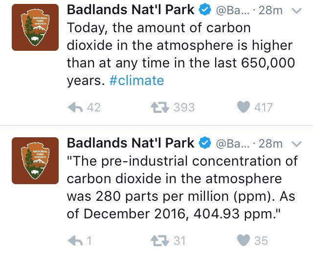These are tweets that the new Admin has already deleted. RT if you believe in science and oppose Trump's gag order on climate facts!