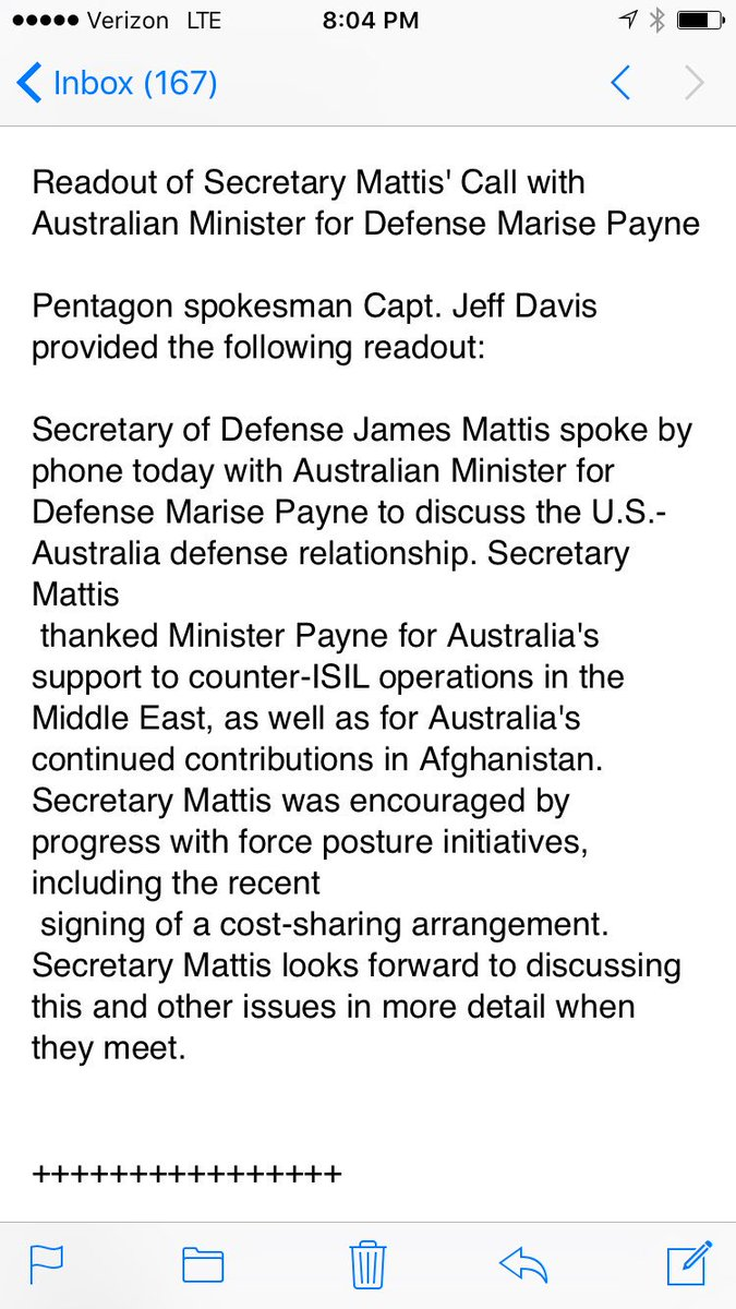 US Sec.Def. James Mattis reaching out to Australia New Zealand counterparts