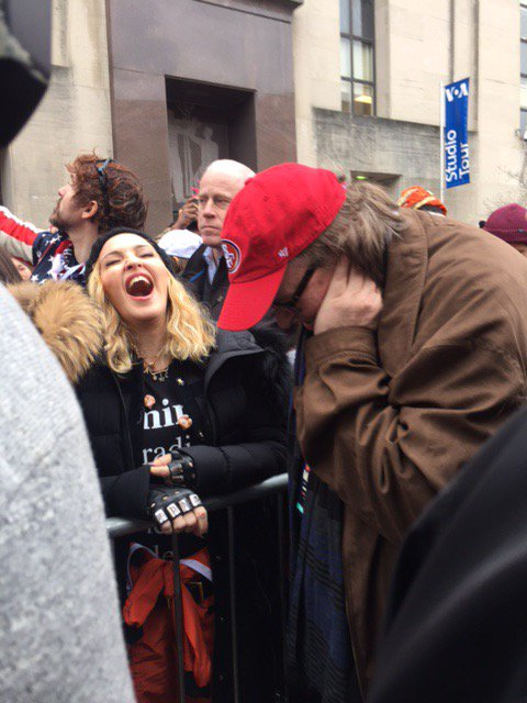 Sharing a laugh with Madonna over our next secret mission to save humanity...