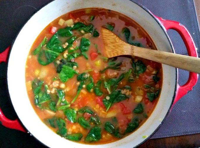 Spiced Red Lentil, Tomato and Spinach Soup