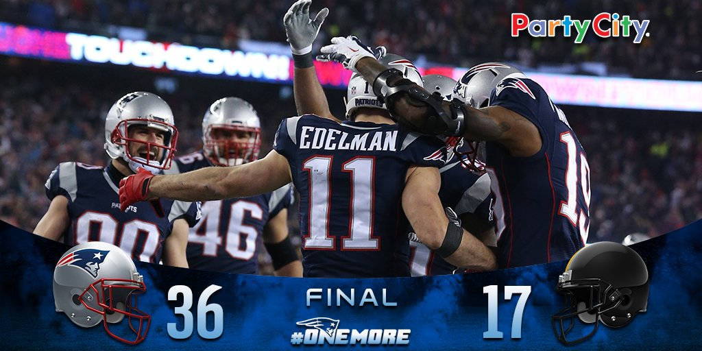 #Patriots win 36-17 and advance to an NFL-record ninth Super Bowl. #OneMore