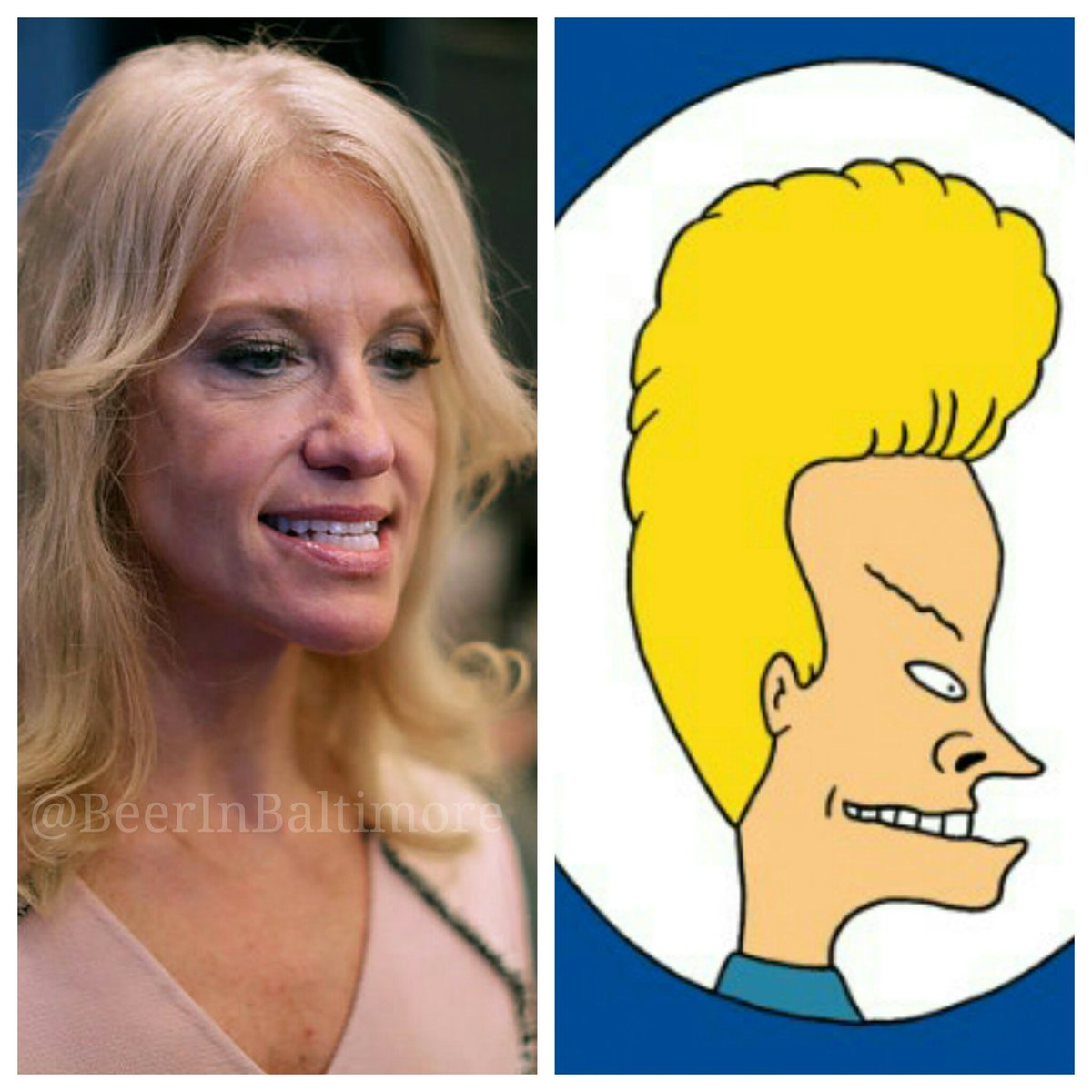 When you realize that @realDonaldTrump hired Beavis to be his mouthpiece... #alternativefact @KellyannePolls https://t.co/Hs0iQL8ThX