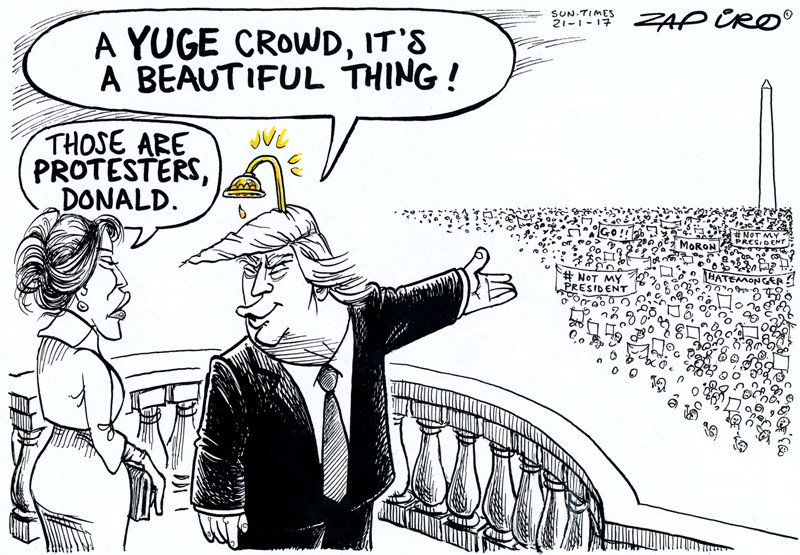 Zapiro's cartoon @SundayTimesZA on the attendance at Donald Trump's inauguration - https://t.co/U8aaNZqRik https://t.co/6BqCNcdqda