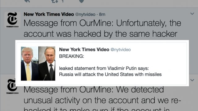 Hack team #OurMine hacked The New York Times Video twitter account &amp; announced that #Russia will attack the United States with missiles <br>http://pic.twitter.com/eQY9K7ahaW