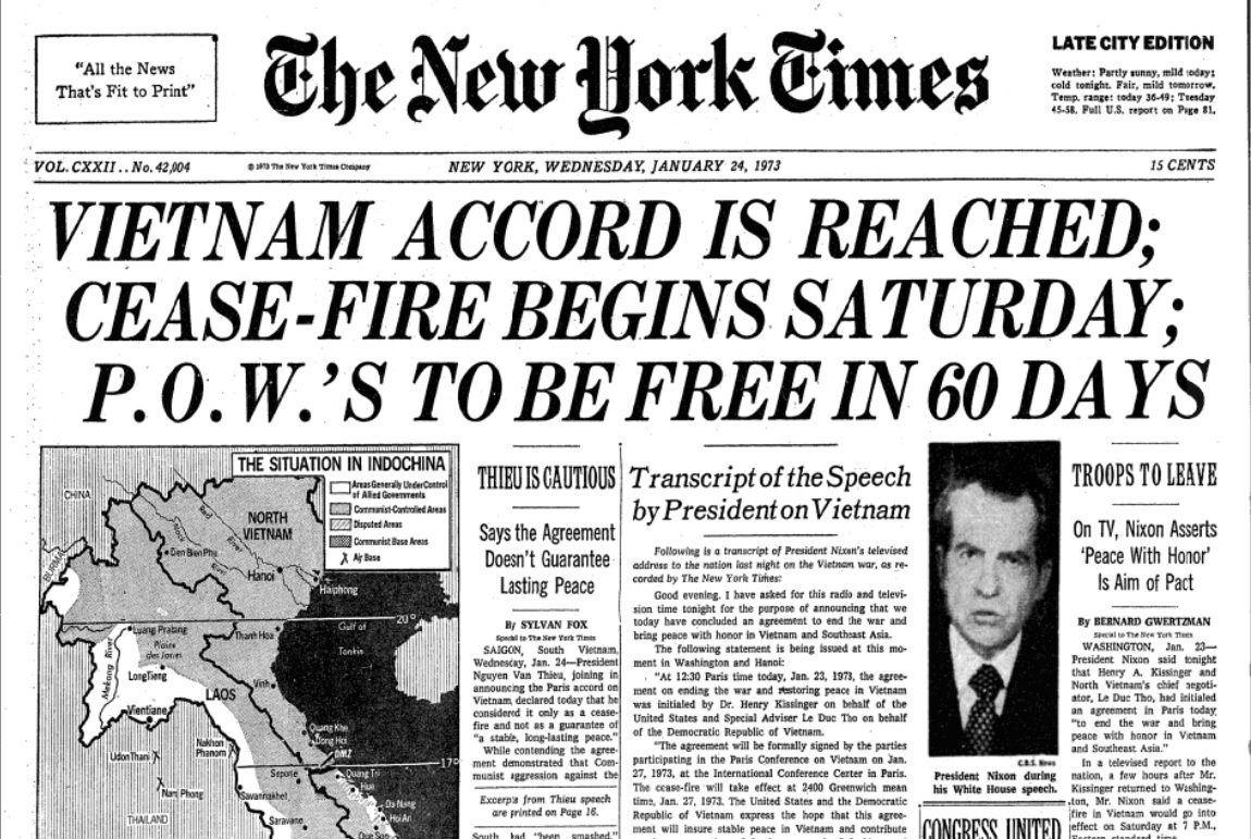 Nyt Archives On Twitter Peace Accord Between Vietnam And United