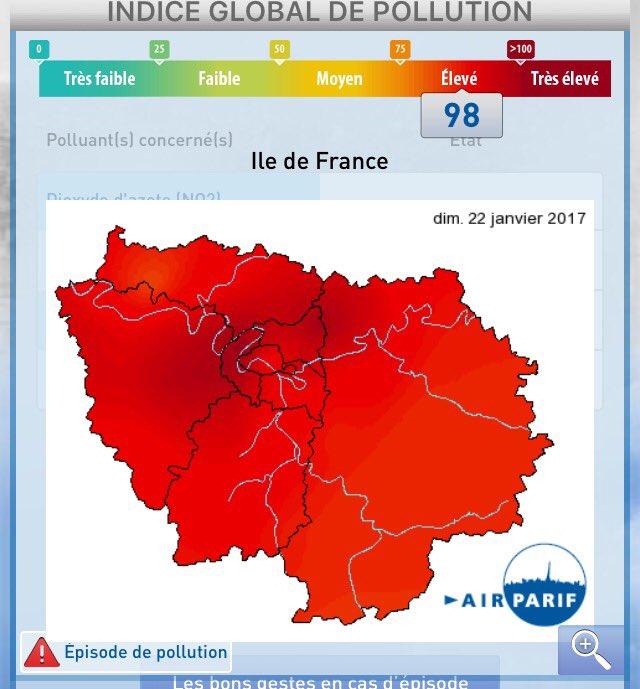 今日のパリ。大気汚染がかなり深刻。PM10がすごいらしいです。政府が公害アプリを出していてこれみてラ…