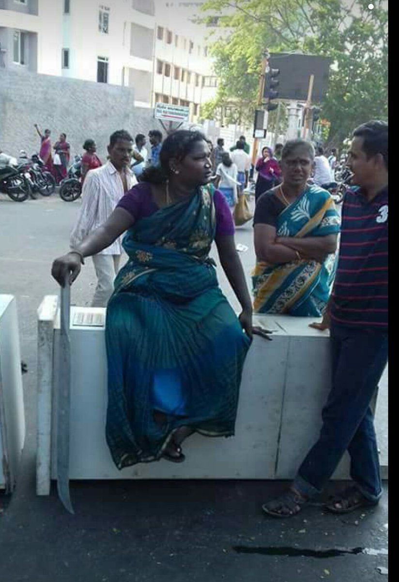 One of the \'student\'  protesters in Chennai right now #godhelpus