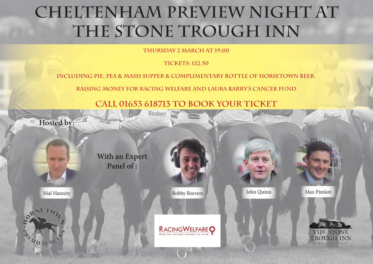 @RichardFahey Cheltenham Preview, 2 March 7pm. Raising money for Laura Barry & @Racingwelfare.  Call 01653 618713 to book. Please re-tweet.