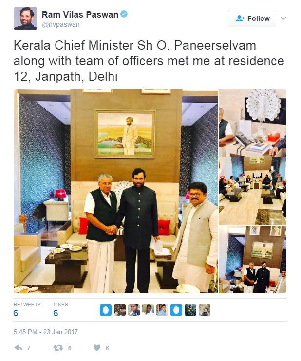 Yes Minister Paswan, that\'s definitely Mr Panneerselvam.