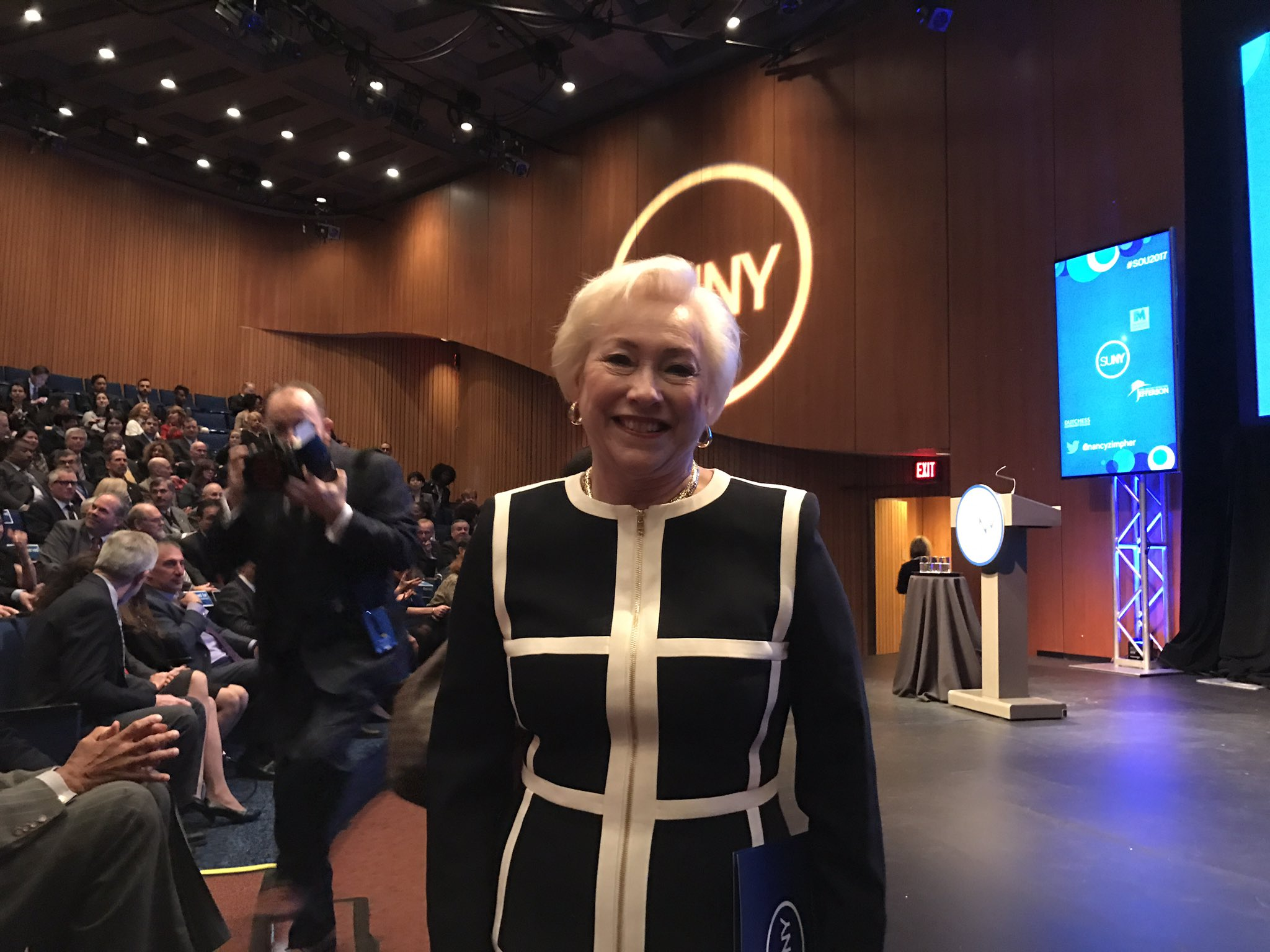 Proud to attend Chancellor Nancy Zimpher's final State of SUNY address. She will be a huge loss when she retires. A great address today. https://t.co/etS1fCJscY