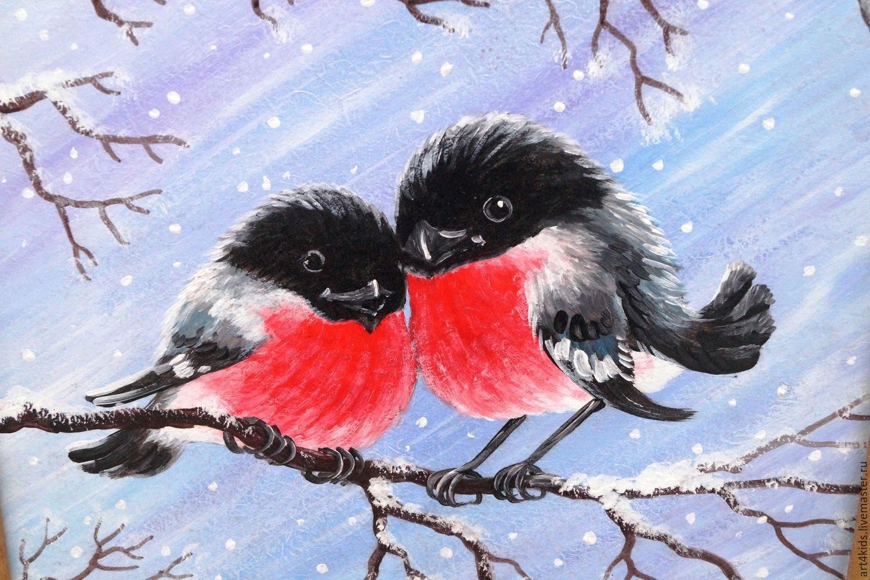 Открытки, снегирь открытка