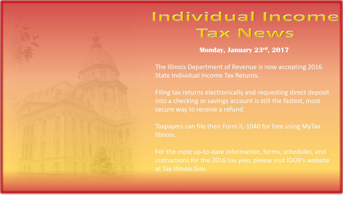 Ildeptofrevenue On Twitter Illinois Now Accepting Form Il 1040