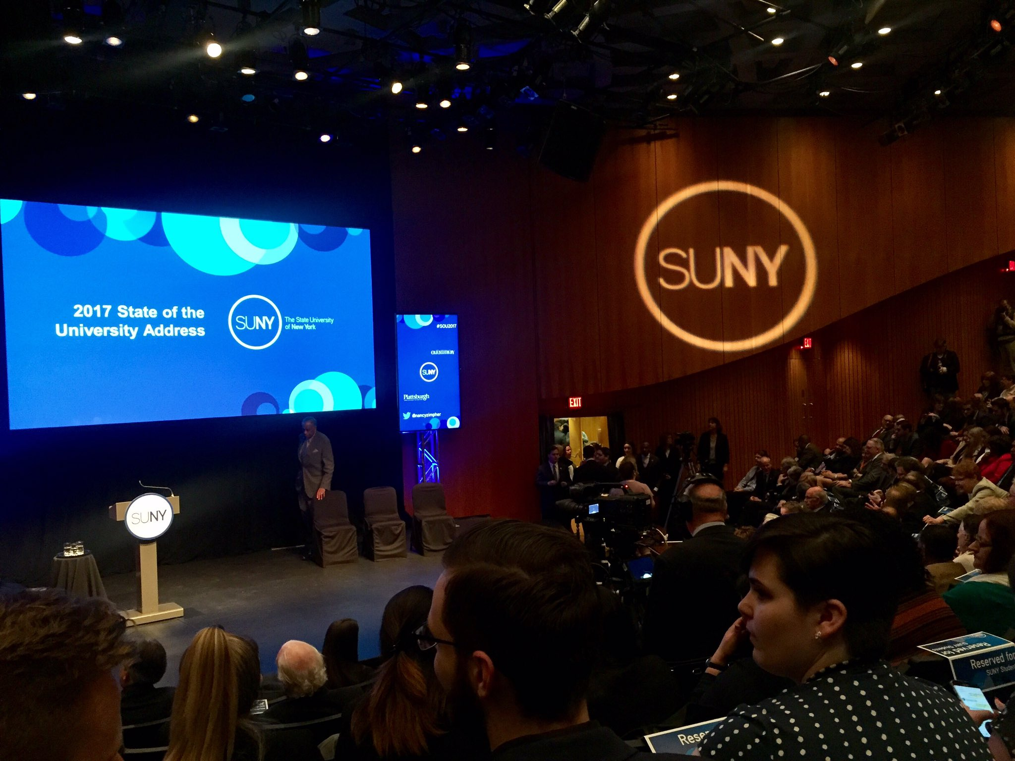 I will be live tweeting from The Egg, where @SUNY Chancellor Nancy Zimpher will deliver her final State of the University address #SOU2017 https://t.co/Y4D0COsQoC