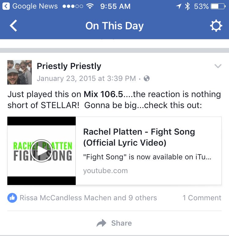 Dang, 2 years ago on @Mix1065FM !!!! @RachelPlatten #FightSong #mazel You did it!!! <br>http://pic.twitter.com/yRAGbp6NlI