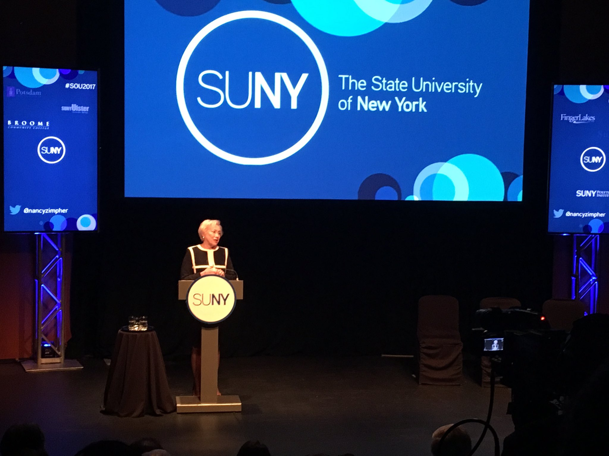 Nancy Zimpher is on stage now for her final State of the University address #SOU2017 https://t.co/fh3r70DscJ
