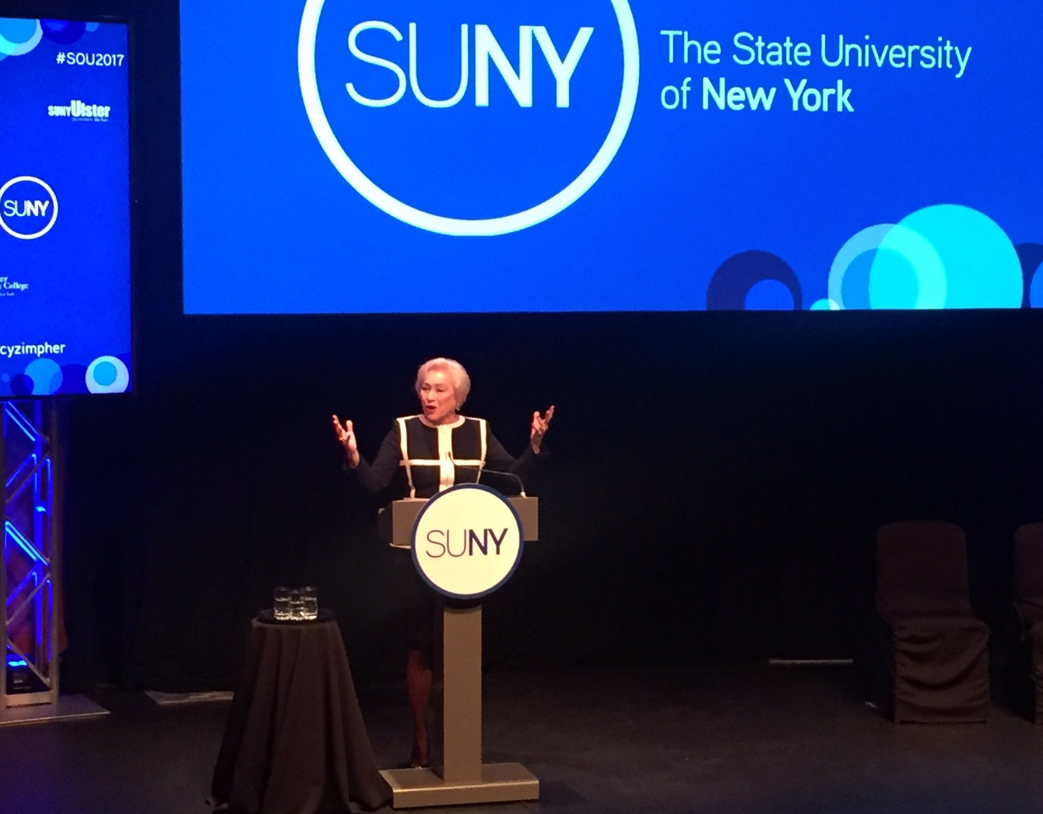 This is Nancy Zimpher's last State of the University address as chancellor of the 64-campus @SUNY system #SOU2017 https://t.co/zVHLet3dYE