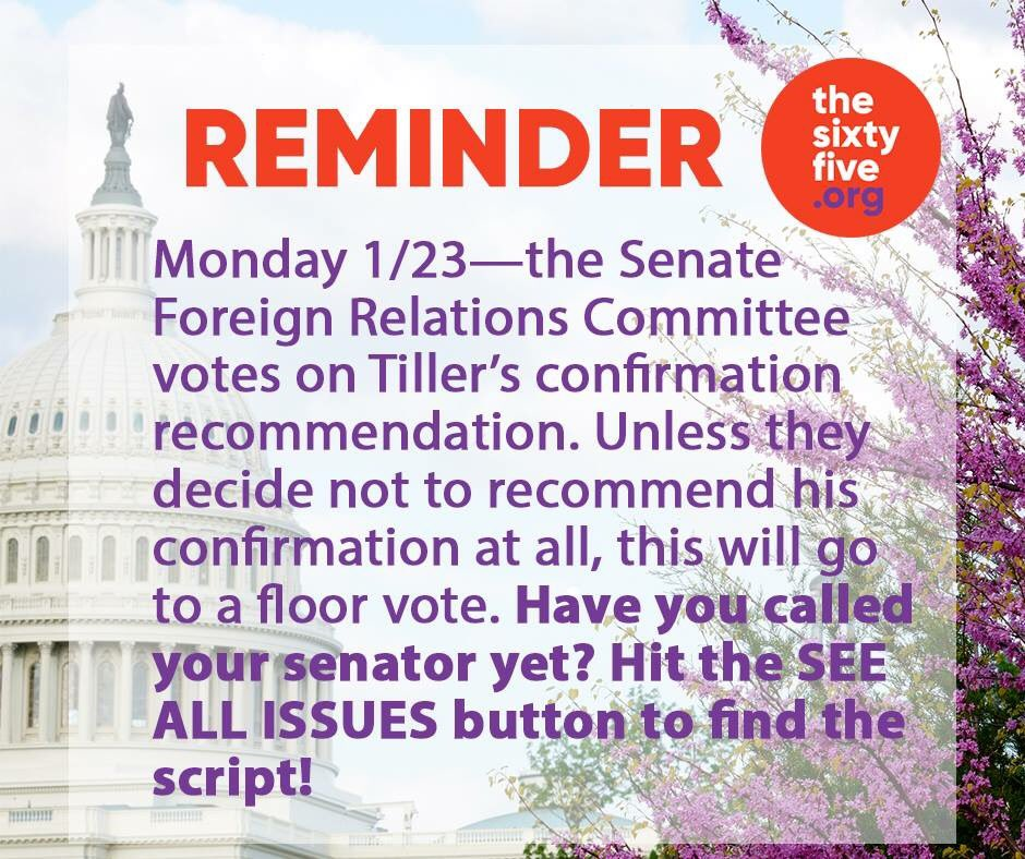 Likely outcome of  #tillersonhearing will be a full vote on @SenateFloor. Call your Senator and tell them #noTillerson! #hisproblemnow<br>http://pic.twitter.com/lCjaDriSGw